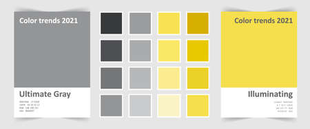 Color of the year 2021. Trend colour palette Ultimate gray and illuminating.
