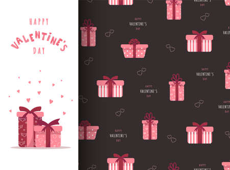 Happy Valentines day card with pink gift boxes. Cute romantic seamless pattern.