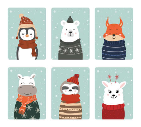 Set of cute winter smiling animals with snowflakes. Cartoon zoo. Vector illustration. Posters for the design of children products in scandinavian style.