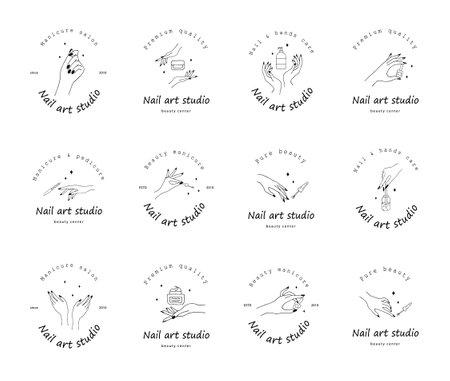 Nail art studio logo set. Modern design for beauty center, spa salon, manicure and pedicure bar.