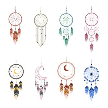 Dream catcher with mandala and feathers. Set of Indian mascots.
