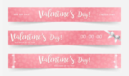 Valentines day sale poster. Commercial discount event banner. Pink background with white lettering.