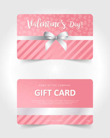 Valentines day gift card. Commercial discount coupon. Pink background with white lettering. Illusztráció