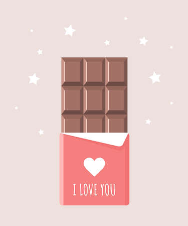 Chocolate bar for Valentines day. Sweets and candy present. I love you.