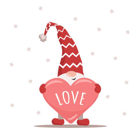 Valentine gnome in red hat holding heart. Lovely scandinavian elf. Happy Valentines Day. I love you. Cute design concept for 14 february. Vector illustration in flat cartoon style