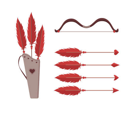 Cupids arrows and bow. Valentines weapon isolated on white background. Cute festive elements of 14 february. Vector illustration in flat cartoon style