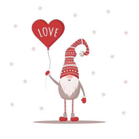 Valentine gnome in red hat holding balloon. Lovely scandinavian elf. Happy Valentines Day. I love you. Cute design concept for 14 february. Vector illustration in flat cartoon style