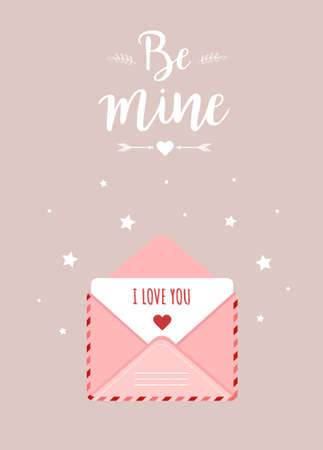 Valentines day greeting card. Pink envelope set in cartoon style. Mail with love message. I love you. Be mine. Cute design concept for 14 february. Vector illustration in flat cartoon style Illusztráció