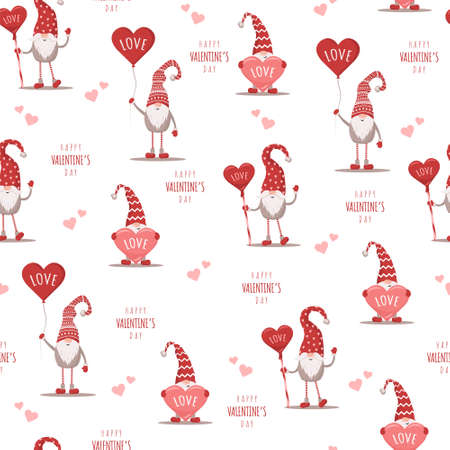Seamless cute pattern with scandinavian gnomes. Happy Valentines day. Vector illustration in flat cartoon style.