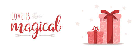 Happy Valentines day banner with pink gift boxes. Cute romantic background. Love is magical. Vector illustration in cartoon style. Web banner for commercial discounts