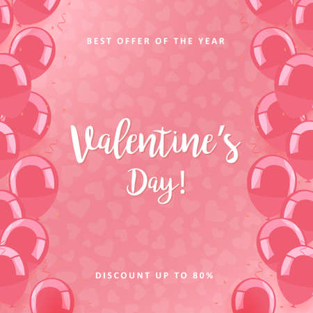 Valentines day sale poster. Commercial discount event banner. Pink background with balloons and white lettering