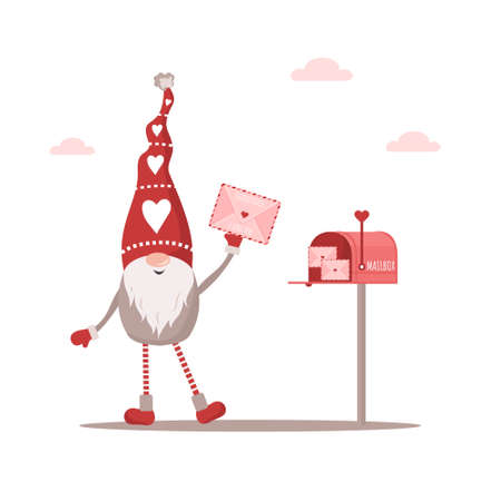 Valentine elf in red hat with envelope. Mail with love message. Lovely scandinavian gnome. Happy Valentines Day. Cute design concept for 14 february. Vector illustration in flat cartoon style Illusztráció