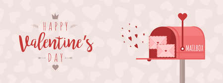 Valentines day greeting banner. Mailbox with love letters. Cute design concept for 14 february.