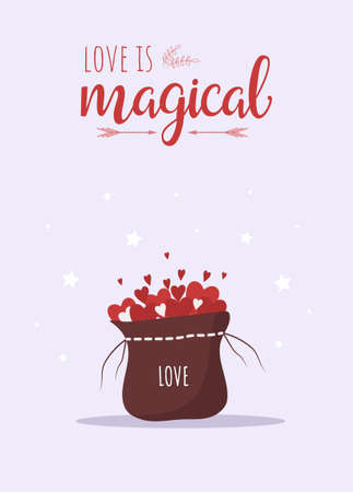 Valentines day card for concept design. Love is magical. Cute festive elements of 14 february. Vector illustration in flat cartoon style. Greeting banner or web poster