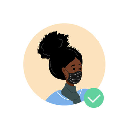 Female avatar with face mask. African woman as doctor or nurse. Quarantine and social distancing. Coronavirus epidemic. Vector illustration in flat cartoon style.
