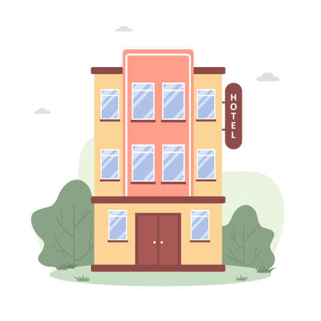Hotel building in flat style on white background. Modern city urban landscape. Graphic element. Vector illustration in cartoon style
