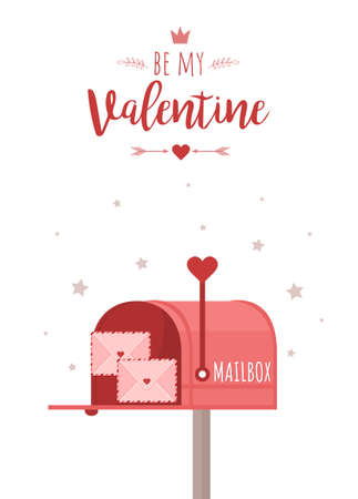 Valentines day greeting card with post box. Mailbox with love letters. Be my Valentine. Illusztráció