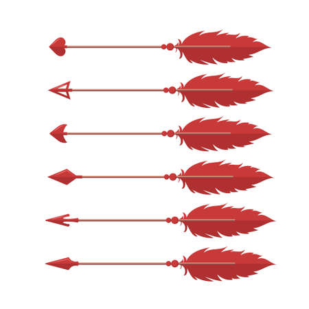 Cupids arrows. Valentines weapon isolated on white background. Cute festive elements of 14 february. Vector illustration in flat cartoon style Illusztráció