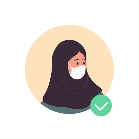 Female avatar with face mask. Islamic woman as doctor or nurse. Quarantine and social distancing. Coronavirus epidemic. Vector illustration in flat cartoon style.