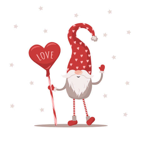 Valentine elf in red hat with sweets. Lovely scandinavian gnome. Happy Valentines Day. Cute design concept for 14 february. Vector illustration in flat cartoon style