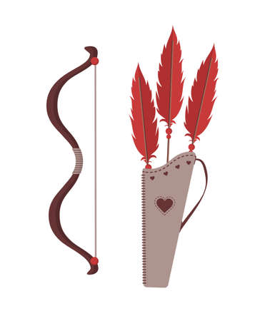 Cupids arrows, bow and quiver. Valentines weapon isolated on white background. Cute festive elements of 14 february. Vector illustration in flat cartoon style