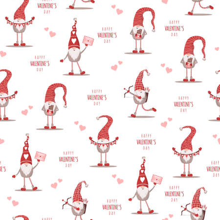Seamless cute pattern with scandinavian gnomes. Happy Valentines day. Vector illustration in flat cartoon style. Nordic design for postcard, print, textile, wrapping paper, poster Illusztráció