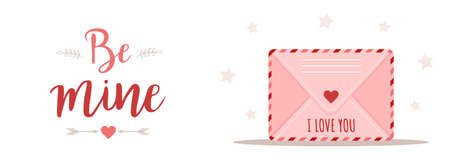 Valentines day greeting banner. Pink envelope set in cartoon style. Mail with love message. I love you. Be mine. Cute design concept for 14 february.