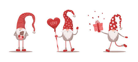 Valentines gnomes in red hat. Lovely scandinavian elf isolated on white background. Cute festive elements of 14 february. Vector illustration in flat cartoon style Illusztráció