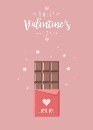 Valentines day greeting card with chocolate. Sweets and candy present.