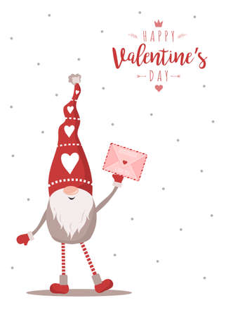 Valentines gnome with envelope. Mail with love message. Holiday greeting card. Cute little elf in red hat. Vector illustration in flat style.