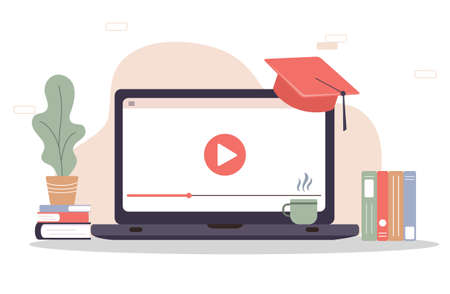 Online education. Flat design concept of training and video tutorials. Vector illustration for website banner. Vector Illustration