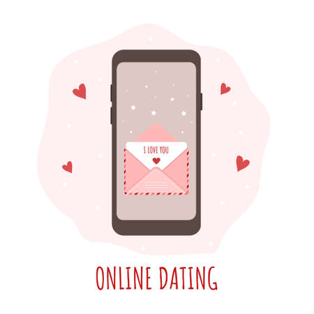Online dating app concept. Happy Valentines day. Smartphone with chat and love messages. Vector illustration in flat cartoon style