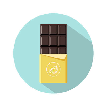 Chocolate bar icon. Open tasty bitter chocolate in foil packaging. Flat dessert and sweet. Vector illustration in cartoon style. Illusztráció