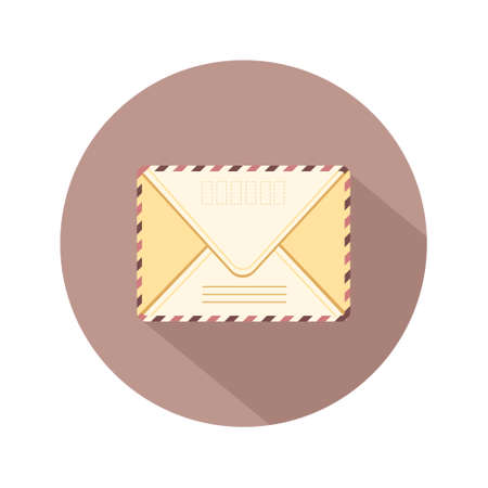 Envelope with stamp. E-mail icon. Retro postcard and craft paper. Written letter or correspondence. Vector illustration in flat cartoon style.