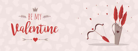 Valentines day greeting banner. Cupids arrows and bow. Valentines weapon isolated on white background. Cute festive elements of 14 February.