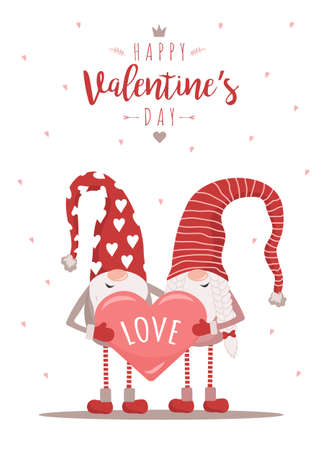 Valentine day greeting card. Cute nordic gnomes in red hats with heart. Vector illustration in cartoon style