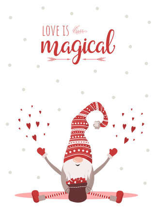 Season greetings. Valentines day scandinavian card. Cute little gnome in red hat. Love is magical. Vector illustration in cartoon style. Noel vintage postcards on white background Illusztráció