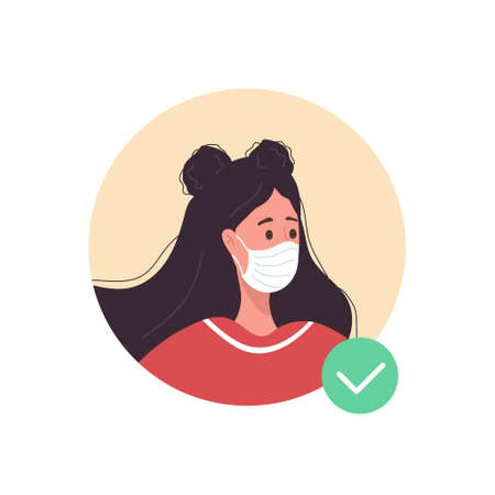 Female avatar with face mask. Woman as doctor or nurse. Quarantine and social distancing. Coronavirus epidemic. Vector illustration in flat cartoon style. Illusztráció