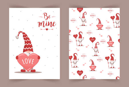 Vector Valentines day cards with gnomes. Be mine. Scandinavian cute elves in red winter hats on white background. Nordic illustration in flat style Illusztráció