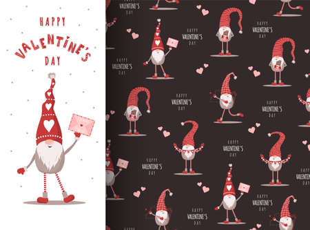 Valentines day card with gnome in red hat. Cute scandinavian elves on seamless pattern. Vector illustration in cartoon style.