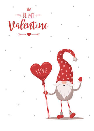 Retro Valentines card with gnome. Greeting background. Scandinavian cute elf in red hat with candy. Vector illustration in flat style. Nordic design for poster, flyer, gift tags and postcards