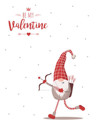 Happy Valentine day card with cute nordic gnome in red hat with bow and cupids arrows. Be my Valentine. Season greetings. Vector illustration in cartoon style. Scandinavian vintage postcard Illusztráció