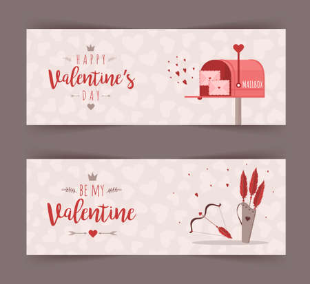Valentines day banner for concept design. Mail with love message. Cute festive elements of 14 february. Vector illustration in flat cartoon style.