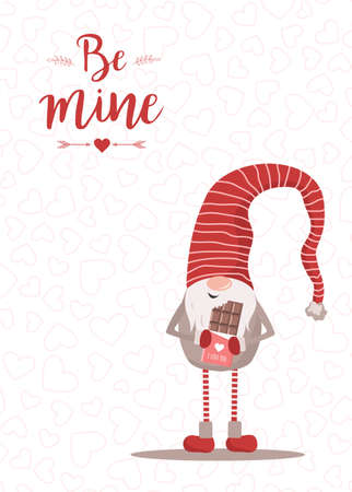 Vector Valentines day card with gnome. Be mine. Scandinavian cute elf in red winter hat on white background. Nordic illustration in flat style