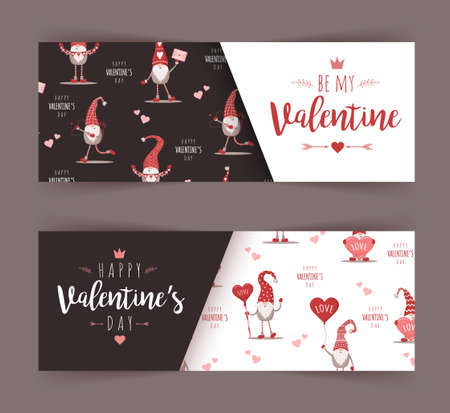 Valentines day greeting banner. Cute scandinavian elves in red hat with hearts. Be mine Valentine. Cute design concept for 14 february. Vector illustration in flat cartoon style