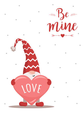Happy Valentine day greeting card. Cute nordic gnome in red hat with heart. Scandinavian design element for poster, banner, postcard, flyer, gift tags and labels.