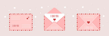 Pink envelope set in cartoon style. Mail with love message. Happy Valentines Day. I love you.