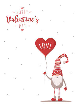 Happy Valentine day card with cute nordic gnome in red hat with air balloon. Season greetings. Vector illustration in cartoon style. Scandinavian vintage postcard