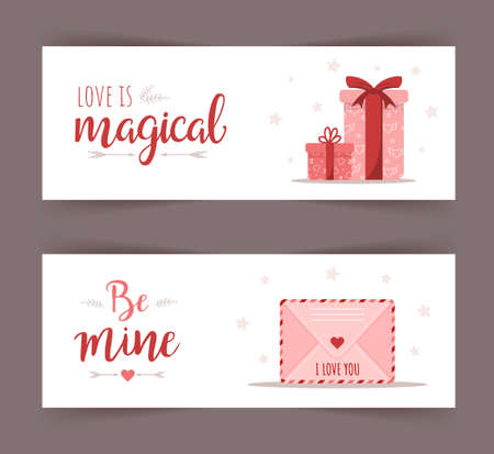 Valentines day banner for concept design. Greeting card or web poster. Holiday gift and mail with love message. Vector illustration in flat cartoon style Illusztráció