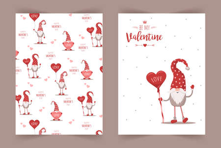 Happy Valentine day greeting cards. Cute nordic gnomes in hat with candy. Scandinavian design element for poster, banner, postcard, flyer, gift tags and labels. Vector illustration in cartoon style